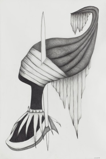 The Impaler, 2017, Graphite on Mylar, 91.x x 60.9 cm. Courtesy the artist and Sophia Contemporary