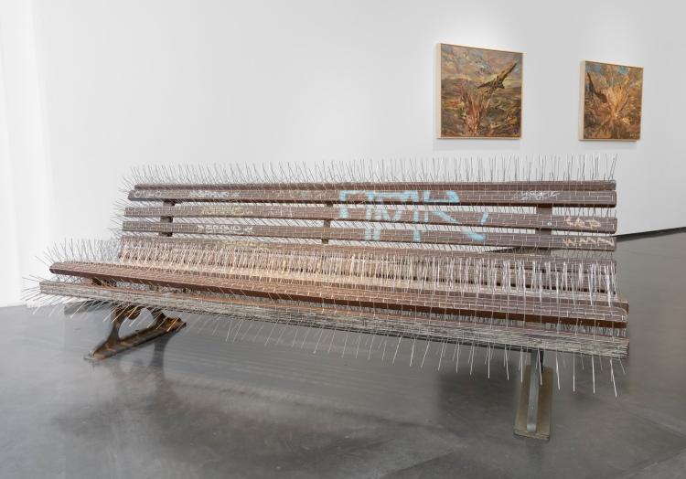 Installation view of Lawrie Shabibi's group exhibition 'Scripted Reality'. Courtesy Lawrie Shabibi, Ayman Baalbaki and Nadia Kaabi-Linke