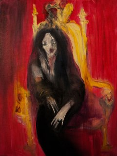 Queen in Burning Room, Oil on canvas, 30 x 40 cm, Johanna Stickland. Image courtesy the artist