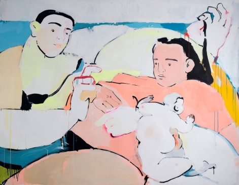 Cala Break, Cristina BanBan, 2018, acrylic and spray paint on canvas. Image courtesy Kristin Hjellegjerde