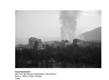 Koka Ramishvili, War from My Window (Dedicated to My Mother), Video. Image courtesy Tamuna Arshba