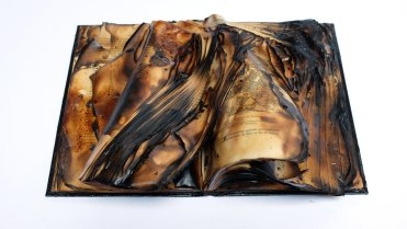 Untitled, 2016, burnt book sculpture, 28 x 41 x 13.5 cm. Image courtesy Garo Bardakjian