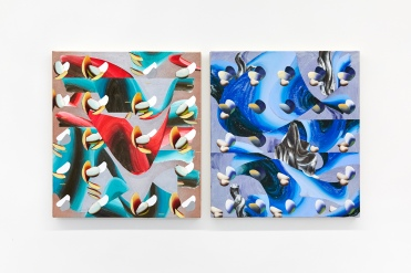 Grid Method (Stone Waves), 2018, and Fruitility 2, Vivien Zhang, 2018, both acrylic, oil and spray paint on canvas. Image courtesy Lychee One