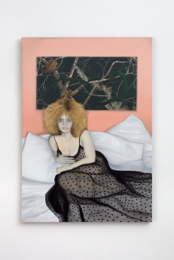 Katja Seib, Eve's curse, 2018, oil on textile, 131.7 x 91.5 x 2 cm / 51 7/8 x 36 1/8 x ¾ in. Copyright Katja Seib, courtesy Sadie Coles HQ, London. Photography: Robert Glowacki