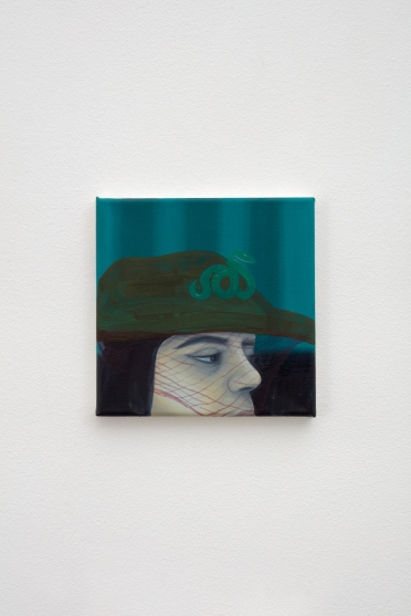 Katja Seib, Girl that got sick of the whole wide world and everything inside it, 2018, oil and acrylic on canvas, 20.3 x 20.3 x 1.5 cm / 8 x 8 x 5/8 in. Copyright Katja Seib, courtesy Sadie Coles HQ, London. Photography: Robert Glowacki
