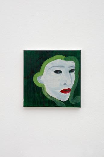 Katja Seib, Medusa, 2018, oil and acrylic on canvas, 20.3 x 20.3 x 1.5 cm / 8 x 8 x 5/8 in. Copyright Katja Seib, courtesy Sadie Coles HQ, London. Photography: Robert Glowacki