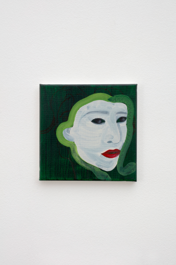Katja Seib, Medusa, 2018, oil and acrylic on canvas, 20.3 x 20.3 x 1.5 cm / 8 x 8 x 5/8 in. Copyright Katja Seib, courtesy Sadie Coles HQ, London. Photography: Robert Glowacki