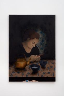 Katja Seib, Girl with a teapot, 2018, oil on textile, 132 x 91.5 x 2 cm / 52 x 36 1/8 x ¾ in. Copyright Katja Seib, courtesy Sadie Coles HQ, London. Photography: Robert Glowacki