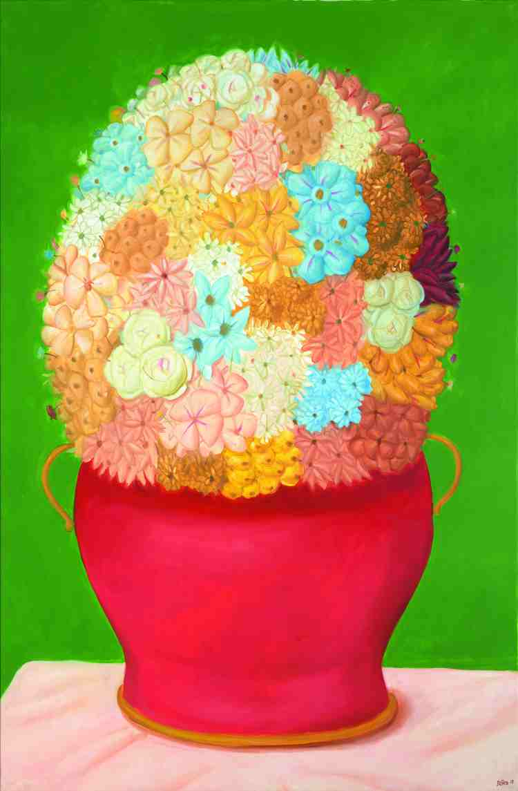 fernando botero - flowers - 2018 - oil on canvas - courtesy custot gallery dubai and the artist