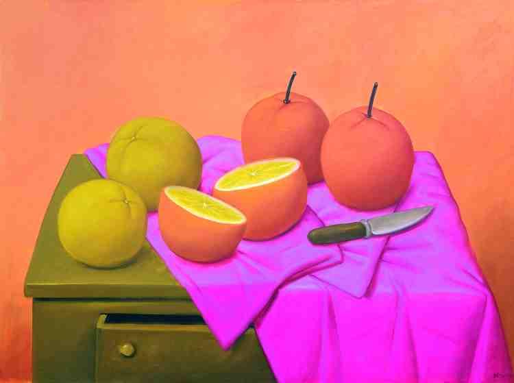 fernando botero - oranges - 2004 - oil on canvas - courtesy custot gallery dubai and the artist