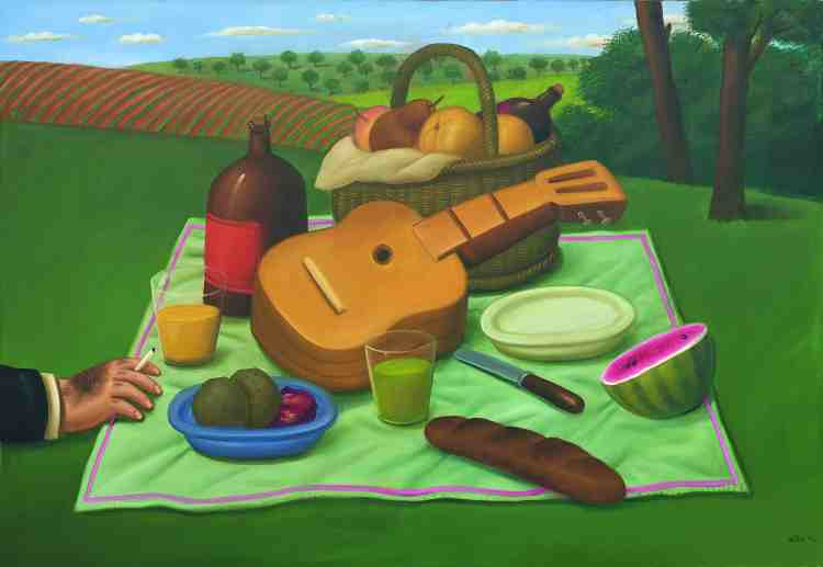fernando botero - picnic - 2002 - oil on canvas - courtesy custot gallery dubai and the artist