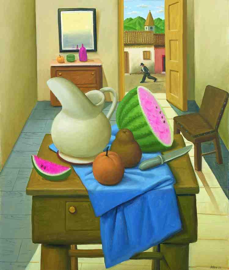 fernando botero - still life - 2002 - oil on canvas - courtesy custot gallery dubai and the artist