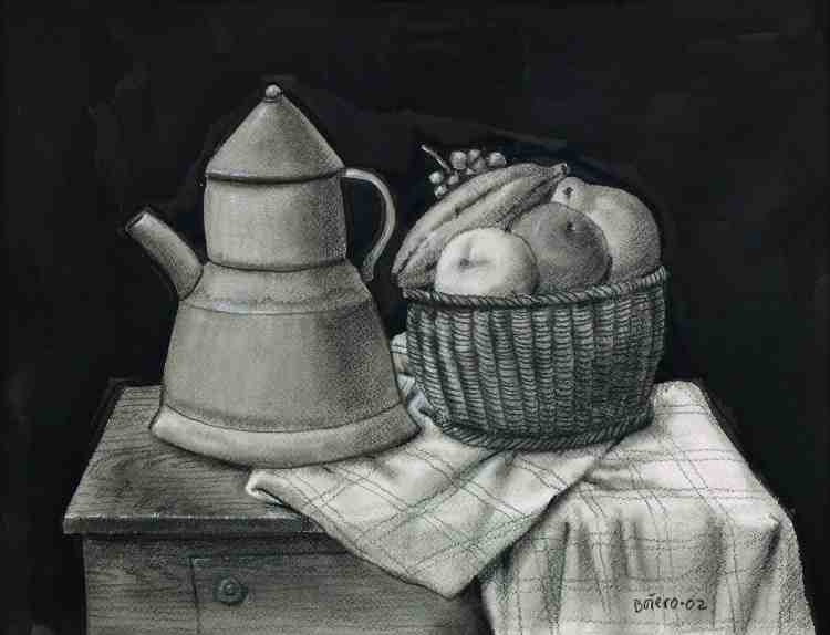 fernando botero - still life with fruits and coffee pot - 2002 - chalice and watercolor on paper - courtesy custot gallery dubai and the artist