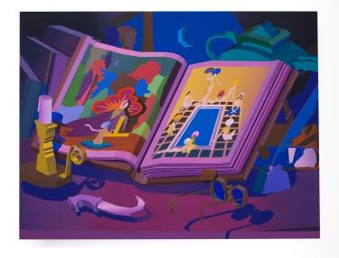 Jonathan Chapline, The Book, 2018, Acrylic and flashe on panel, 91.44 cm x 119.38 cm