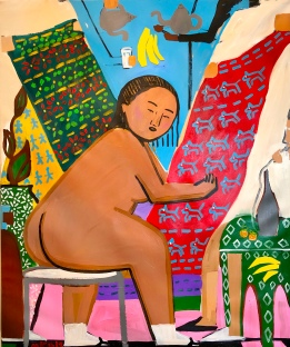 Monica Kim Garza, Carpet Market, Foam paper, embroidery string, acrylic, 147.32 cm x 121.92 cm