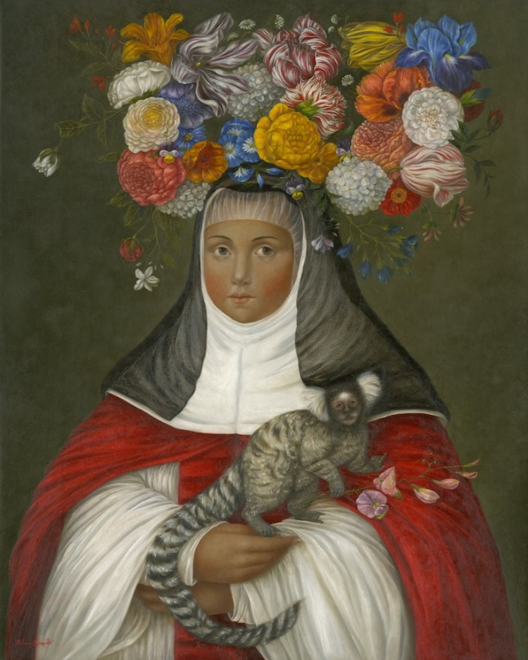 Crowned Nun with Marmoset (oil on linen, 2018)