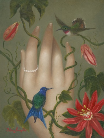 Hand with Ode to Martin Johnson Head, 7 x 5 in, oil on panel, 2019. Image courtesy Fatima Ronquillo