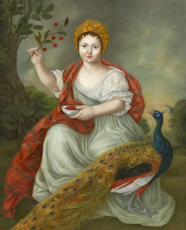Juno and the Peacock, 40 x 32 in, oil on canvas, 2018. Image courtesy Fatima Ronquillo