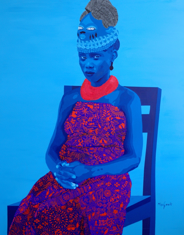 Moufouli Bello, MONJOBALAYE (2018). Acrylic on canvas, 140x110 cm. Image courtesy of the artist and HAART