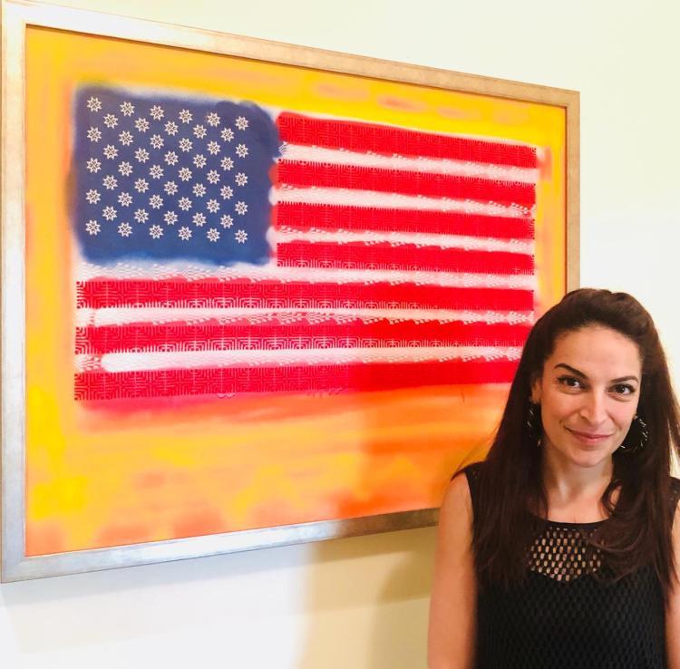Joanna and American Nakba painting